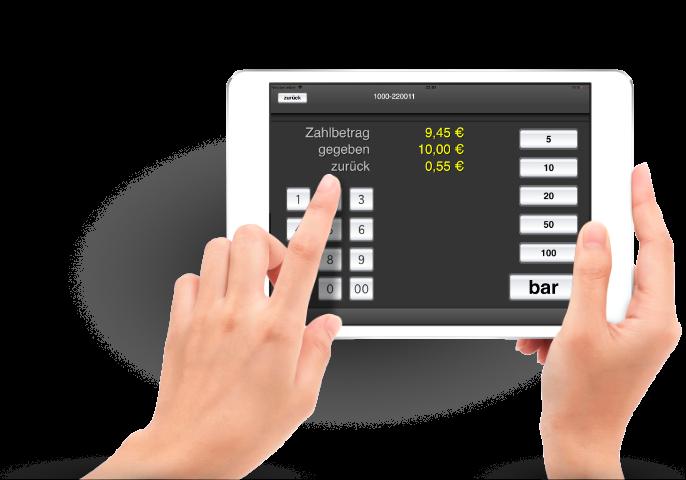 roc.Kasse-Rechnungsansicht. Mit unserer Kassendisplay-App roc.Display zeigst du auch Kunden ganz schnell, was ihr Einkauf kosten wird