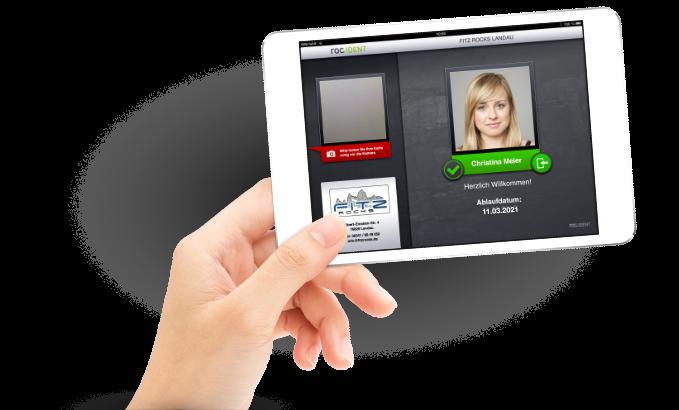 roc.Ident-Bildschirmansicht. Die Einlass-Aap arbeitet optimal mit unserer iPad-Kasse roc.Kasse zusammen